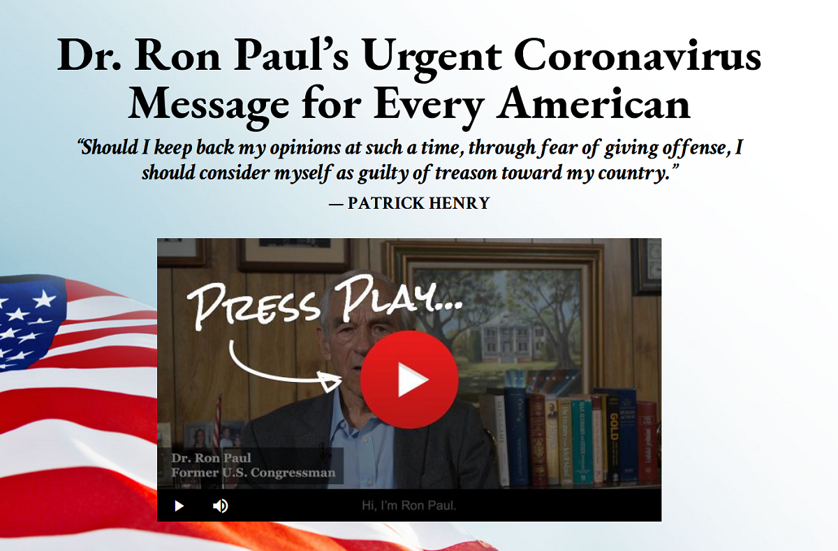 Dr. Ron Paul's Urgent Coronavirus Message for Every American: The Battle for America Research Report