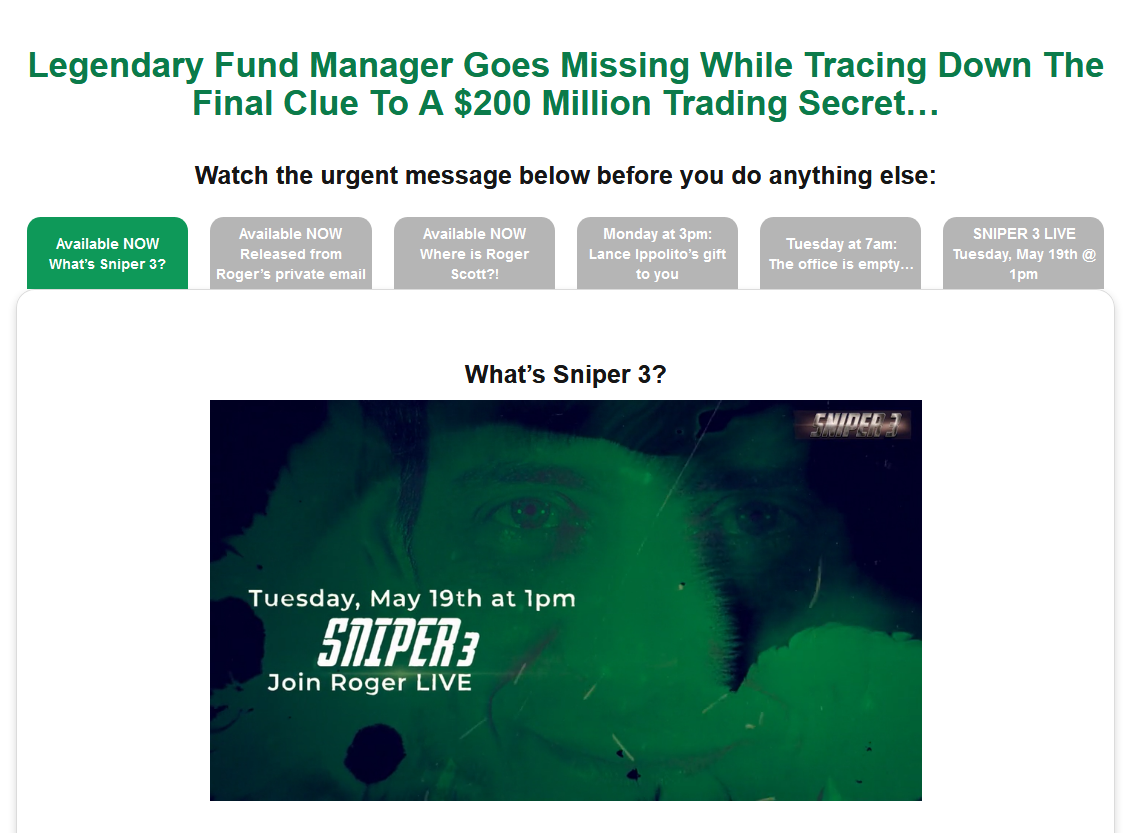 Roger Scott's Sniper 3 Strategy
