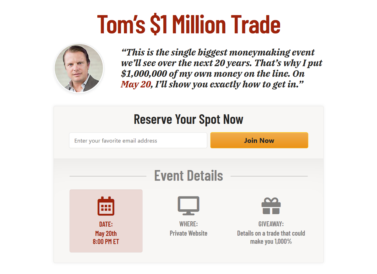 Emergency Investment Summit with Tom Dyson and Bill Bonner