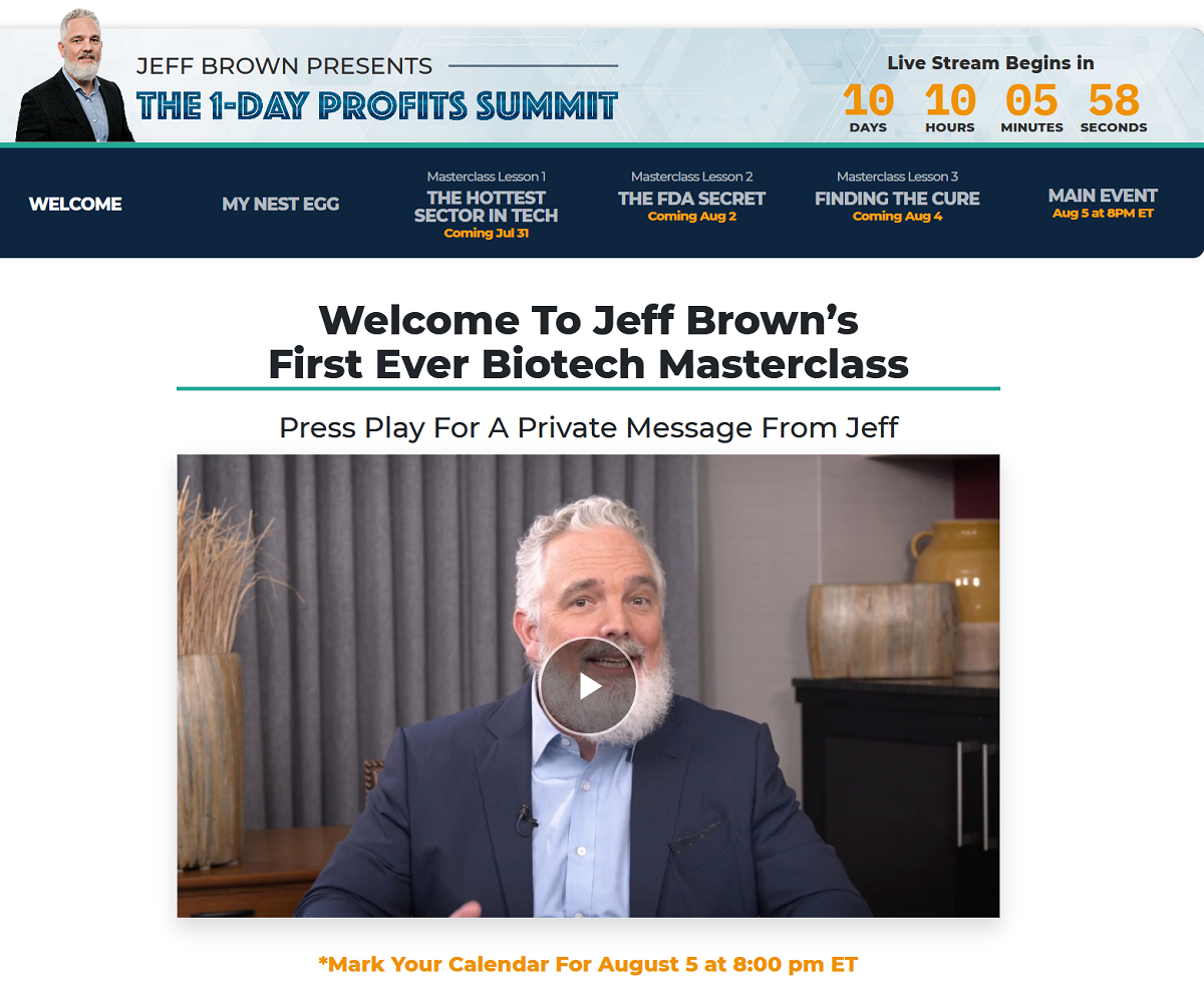 Jeff Brown's 1-Day Profits Summit - Jeff Brown's First Ever Biotech Masterclass