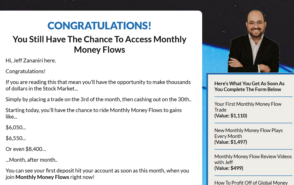 Jeff Zananiri's Monthly Money Flows Elite Review: The Secret of the 3 Day Profit Plan