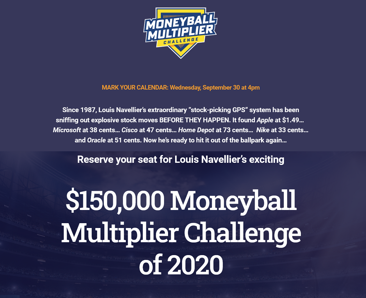 Louis Navellier's Moneyball Multiplier Challenge of 2020 Event