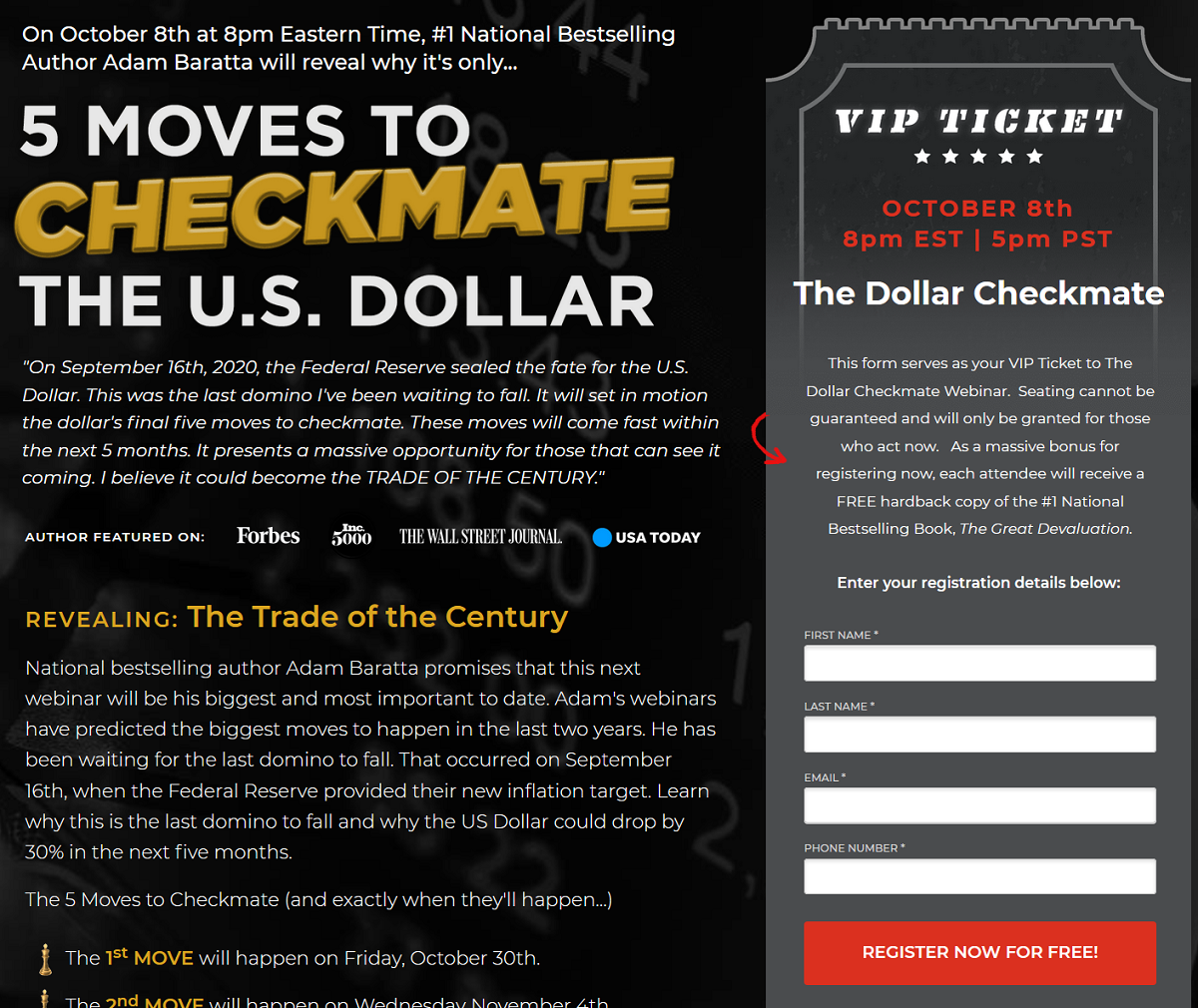 The 5 Moves to Checkmate the U.S. Dollar Summit – Is Adam Baratta Event Legit?