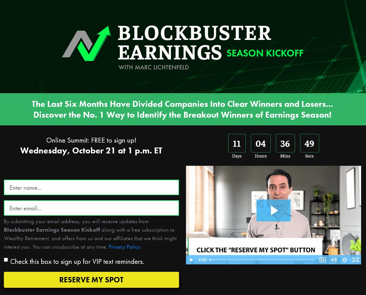 Blockbuster Earnings Season Kickoff Summit – Is Marc Lichtenfeld's Event Legit?