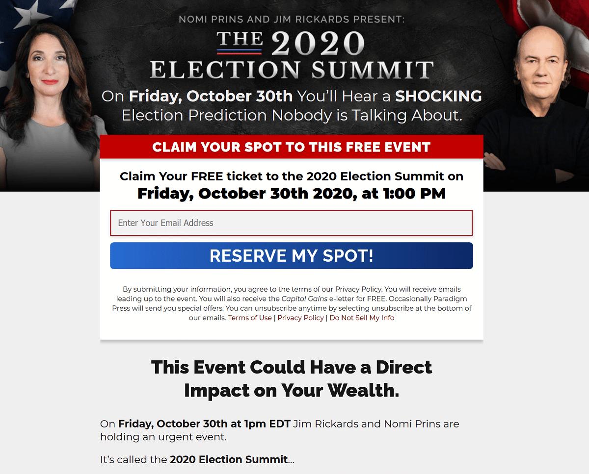 Nomi Prins And Jim Rickards 2020 Election Summit
