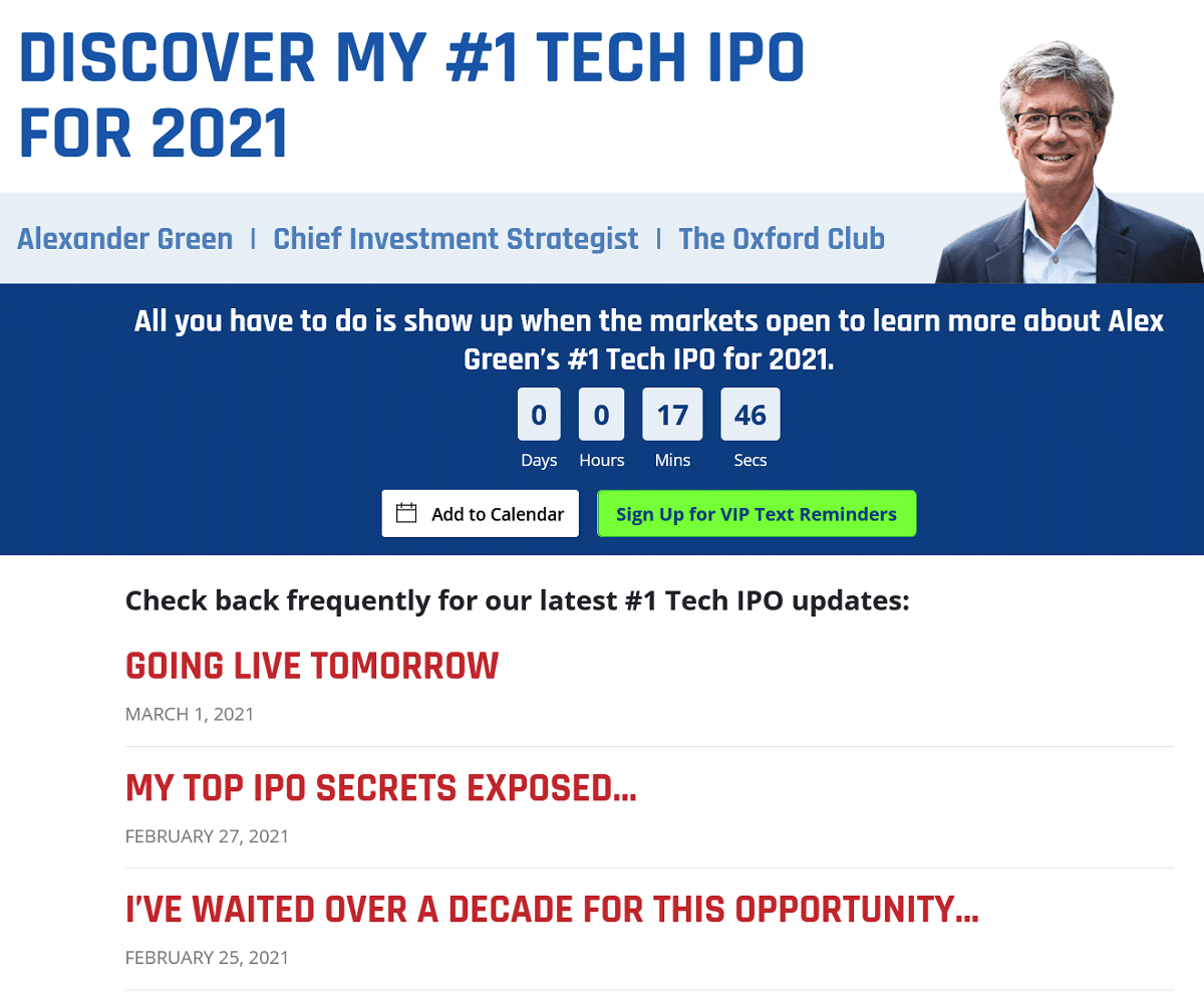 Alex Green's #1 Tech IPO for 2021- Event Details
