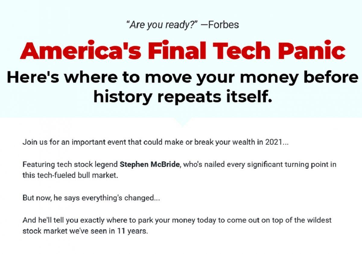 America's Final Tech Panic – Is Stephen McBride's Event Legit?
