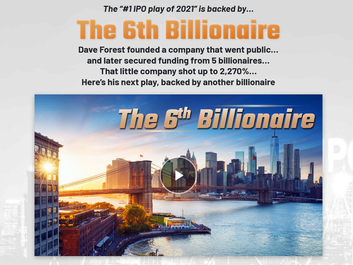 What Is Dave Forest #1 IPO play of 2021 backed by The 6th Billionaire?
