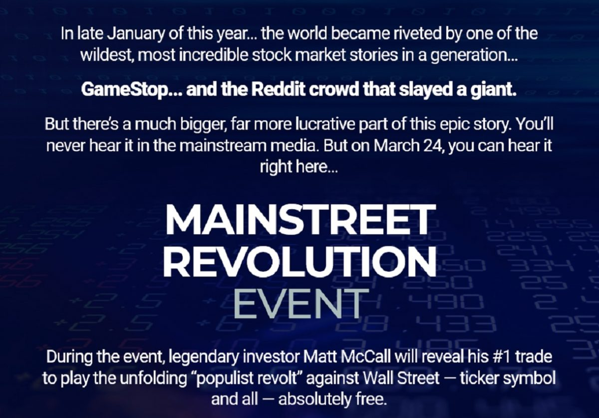 Matt McCall's Main Street Revolution Event – Is It Legit?