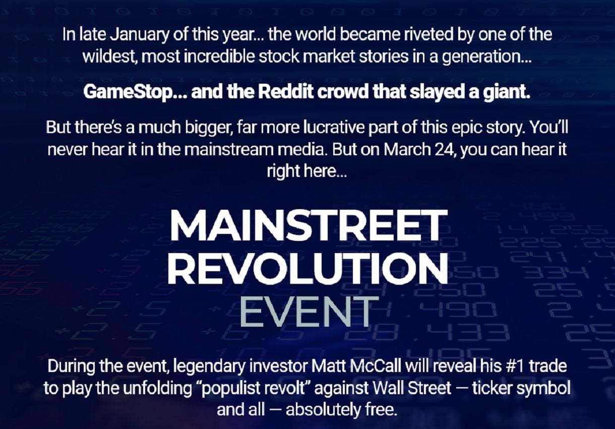 Matt McCall's Main Street Revolution Event