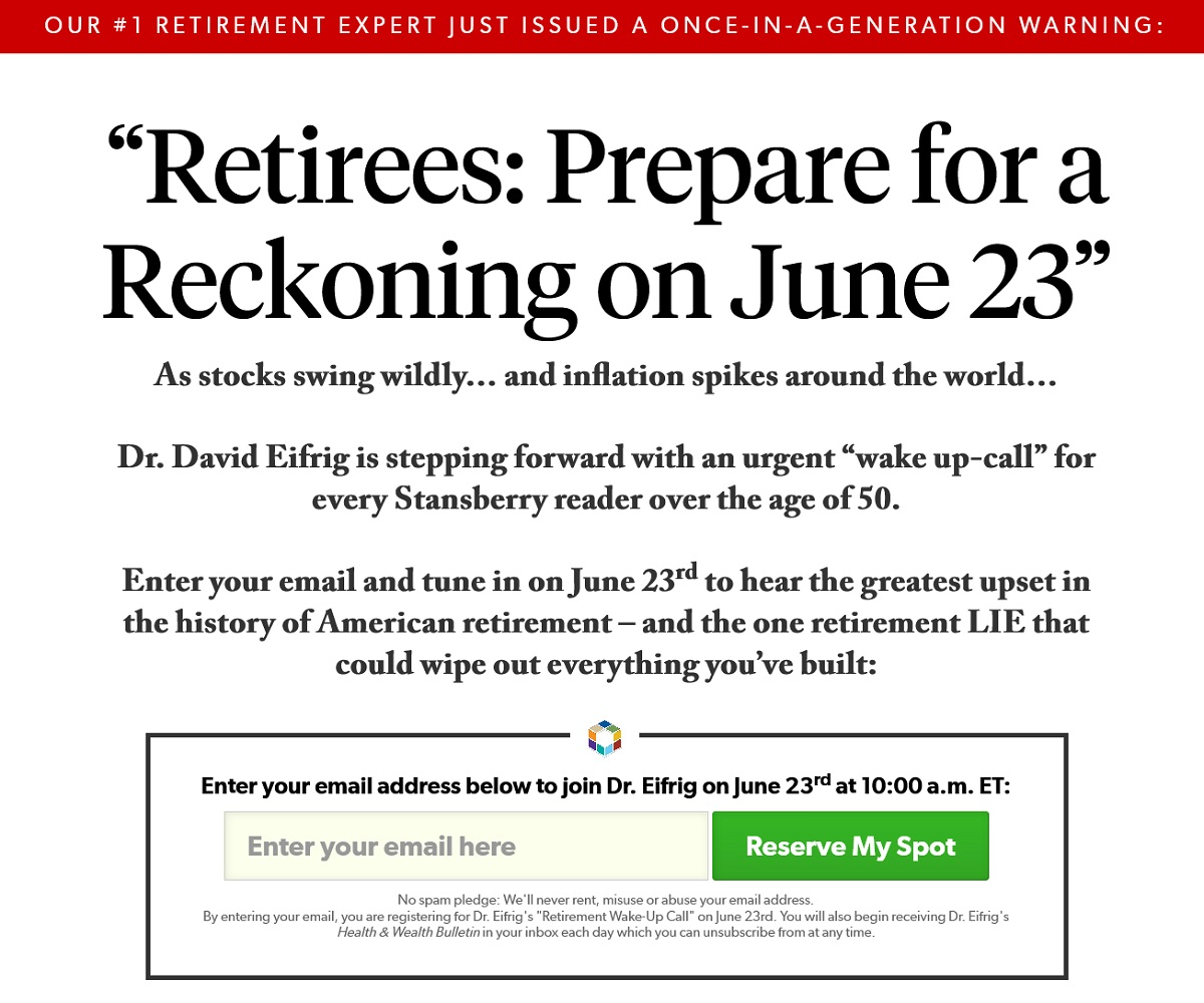 Dr. David Eifrig's Retirement Wake-up Call Event Review