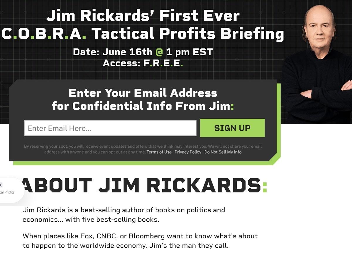 Jim Rickards' C.O.B.R.A. Tactical Profits Briefing