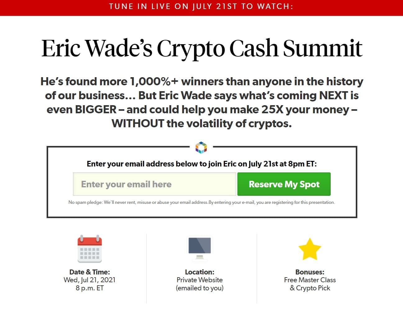 Eric Wade's Crypto Cash Summit Review