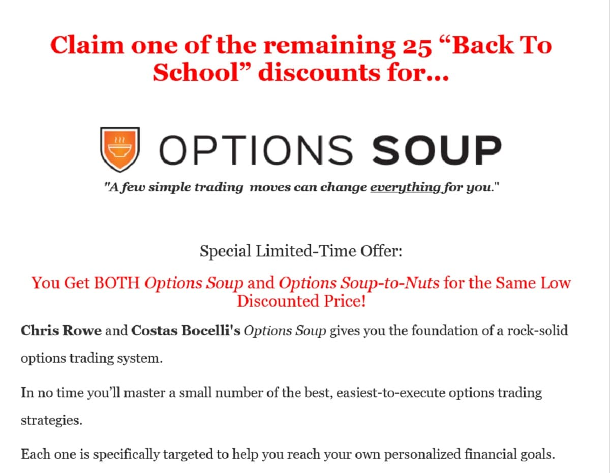 Chris Rowe and Costas Bocelli's Options Soup Review